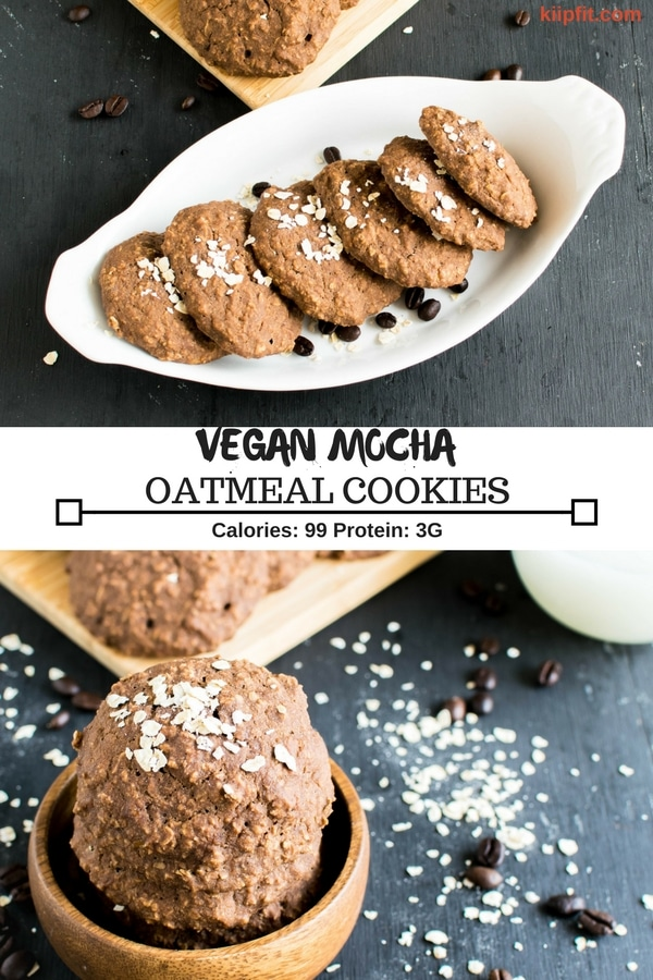 These Mocha Oatmeal Cookies are soft and chewy with a distinct flavor of fresh brewed coffee. These vegan cookies are easy to bake and heavenly for taste buds especially if you are coffee lover | kiipfit.com