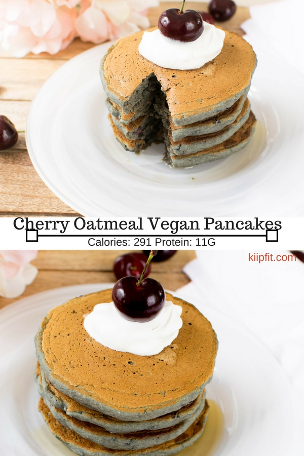 Soft and fluffy delicious Cherry Oatmeal Vegan Pancakes are nutritious and a family friendly breakfast | kiipfit.com